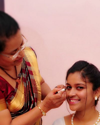 Bridal makeup session in our parlour - feathertouch beauty parlour, pathanamthitta